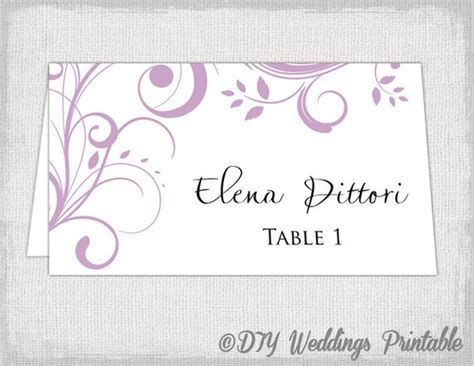 free diy place card template printable place card template lilac scroll name