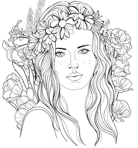 image   girl   floral wreath   hair coloring