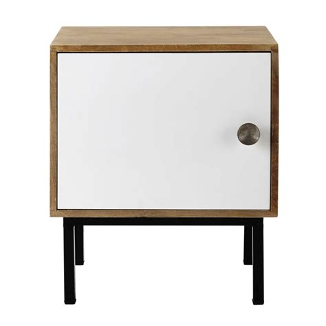 White And Wood Bedside Table Mango Wood Bedside Table In White W 44cm Seven Maisons Du Monde