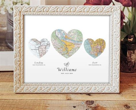 Handmade Engagement Gifts - map print wedding or engagement gift three map