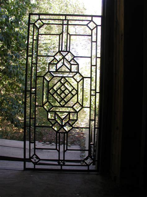 Leaded Glass Door Panels Abstract Leaded Glass Door Panel With Bevels
