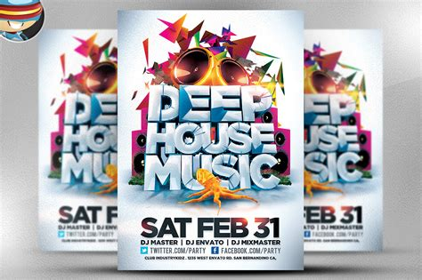house music flyer deep house music flyer template flyer templates on creative market