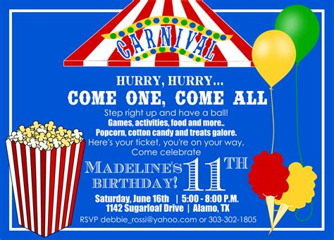 printable birthday invitations carnival theme carnival birthday invitation and ticket for debbie kids