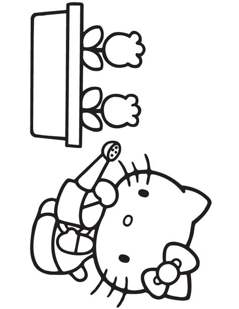 hello kitty with flowers coloring pages free hello flowers coloring pages