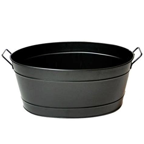 achla designs black oval steel tub c 51bk the home depot