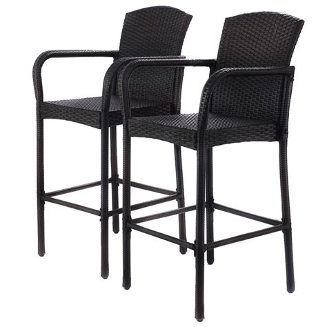 2 pcs rattan bar stool set high chairs outdoor chairs