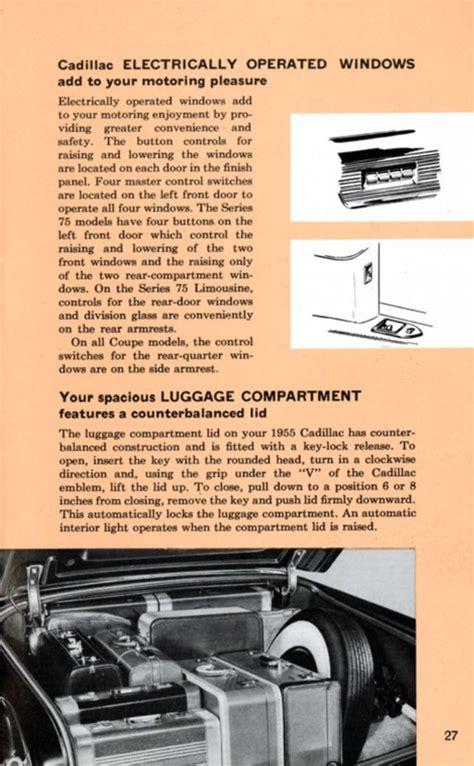 old cars and repair manuals free 1995 cadillac fleetwood parental controls 1955 cadillac owners manual