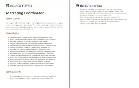 Marketing Coordinator Description Template by Pin By Demand Metric On Demand Tools