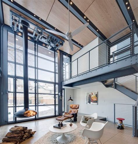 Modern Industrial Living Room by Bathroom And Living Room With An Industrial Touch