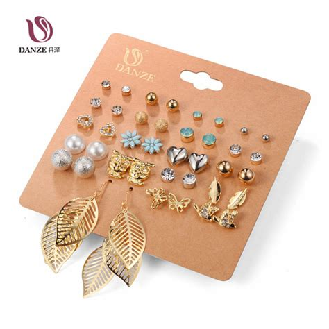 danze 20 pairs pack set brincos mixed stud earrings