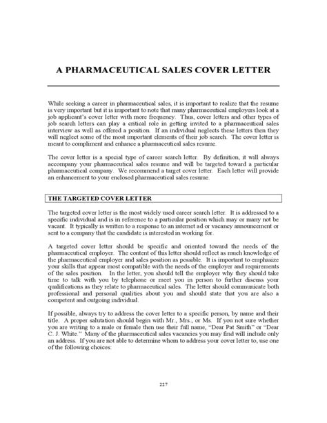 pharmaceutical sales cover letter free