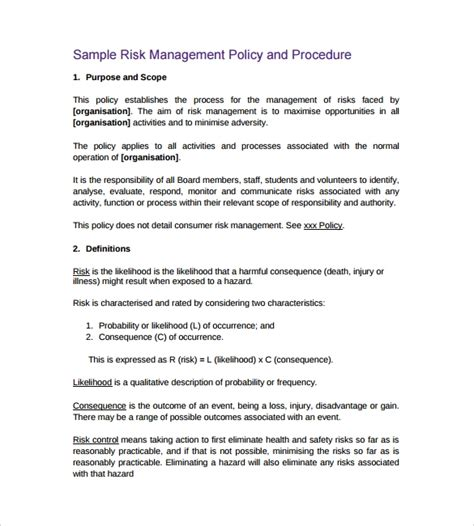 Third Risk Management Policy Template Policy And Procedure Template 10 Download Documents In Pdf