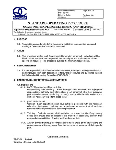 how to write standard operating procedure template 25 unique standard operating procedure ideas on