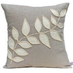 linen cushion with leaf design from nutmeg and