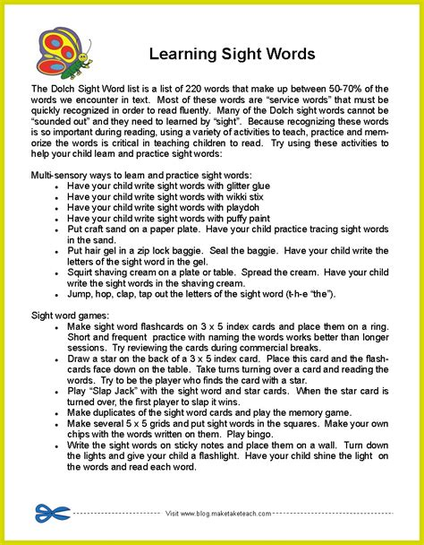Parent Letter Explaining Guided Reading Free Parent Handout Learning Sight Words Ideas For Practicing Words The Summer Months