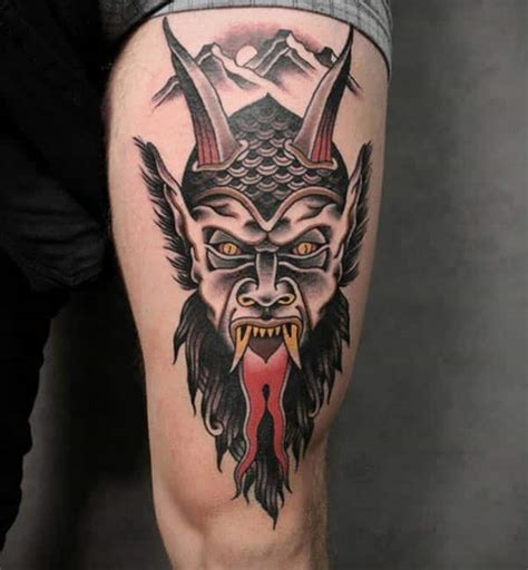 black and grey demon tattoos black grey dark devil face with horns red tongue