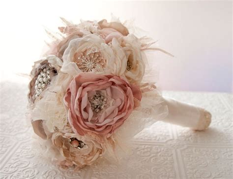 Handmade Wedding Bouquet - handmade bouquet made from recycled fabrics and