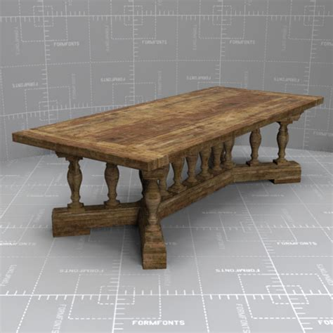 rh 15 baluster dining table 3d model formfonts 3d models