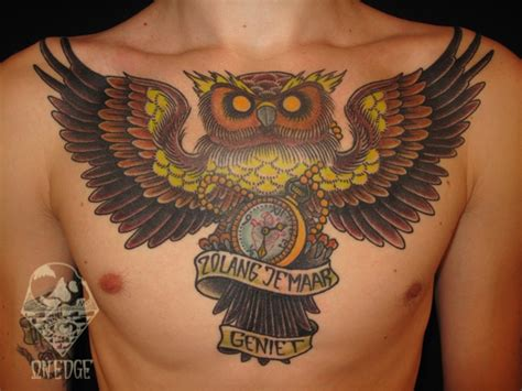 owl chest piece tattoo designs owl chest by school tattoos by