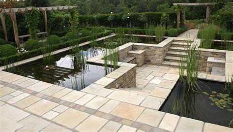 eye level pond with sunken patio pangbourne berkshire garden inspiration pinterest sunken