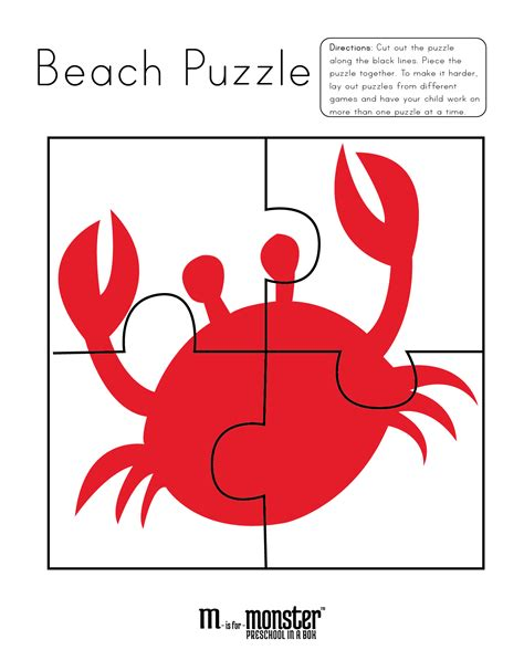printable jigsaw puzzles for preschoolers going to the beach puzzles free printable m is for monster