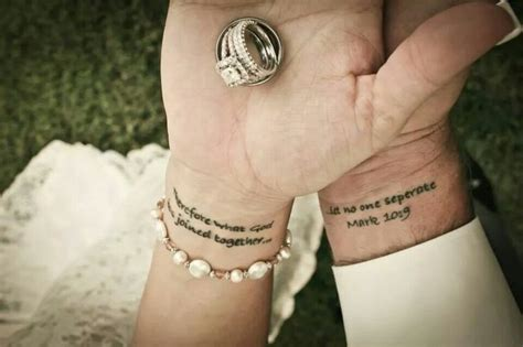 couple bible verse tattoos our wedding present to eachother was a split bible verse