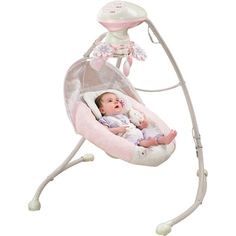pink baby swing with canopy fisher price my little snugabear cradle n swing walmart com