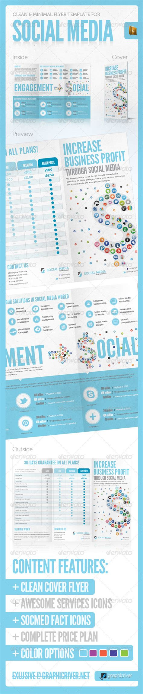 social media brochure template social media print template vol 3 graphicriver