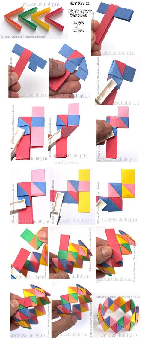 How To Make A Paper Wristband - como hacer un brazalete o pulsera de origami tutorial