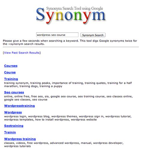 synonyms for section how to find google synonyms