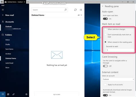 windows 10 mail app tutorial change how to automatically mark item as read in windows