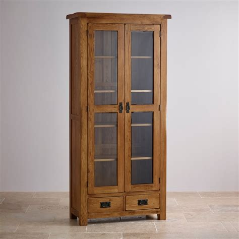 Original Rustic Glazed Display Cabinet in Solid Oak