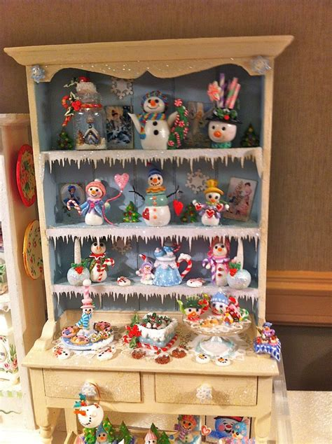 doll house christmas dollhouse snowman christmas hutch miniatures pinterest christmas dollhouses and