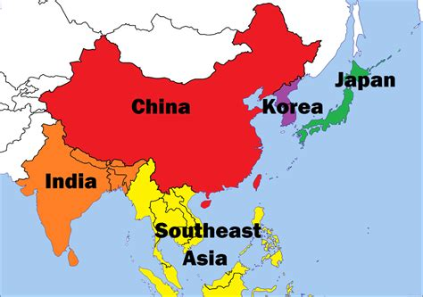 asian with colored colored map of asia