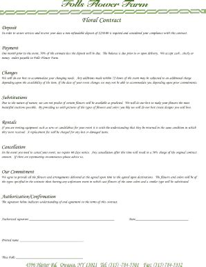wedding florist contract template contracts from florist to client fill printable