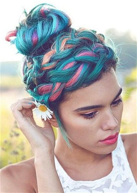 colorful short hair styles rainbow pastel colored braided hairstyles for 2017