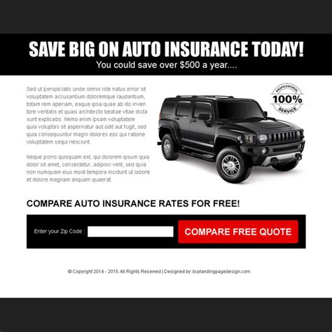 get free auto insurance quotes zip lp 036 auto insurance auto insurance ppv landing page design templates for your
