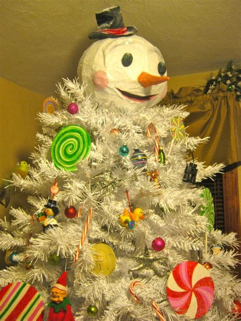 white tree papier mache crafted snowman tree topper ba humbug