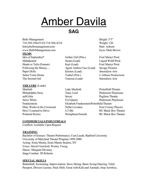 Musical Resume Template by Theatre Resume Template Thebridgesummit Co