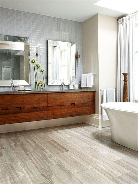contemporary bathroom design  wood floors  drawers