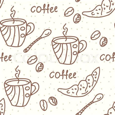 wallpaper coffee cartoon seamless wallpaper with coffee and beans stock vector
