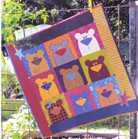 cute quilt pattern little bears cute pieced and applique wall or baby quilt