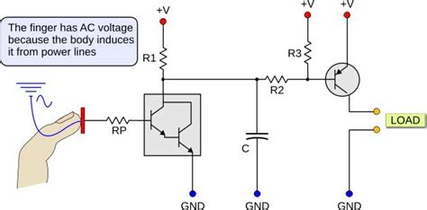 darlington transistor how it works how does this transistor touch circuit work how does the finger supply enough base current to