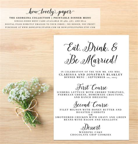 wedding menu card template dinner menu templates 36 free word pdf psd eps