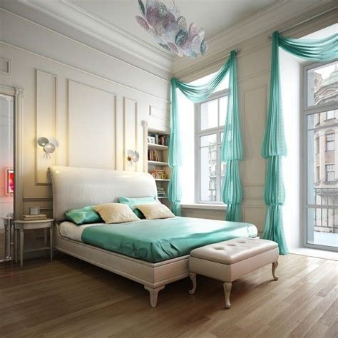 vorhange schlafzimmer turkis schlafzimmer gardinen drapiert t 252 rkis blau farbschema