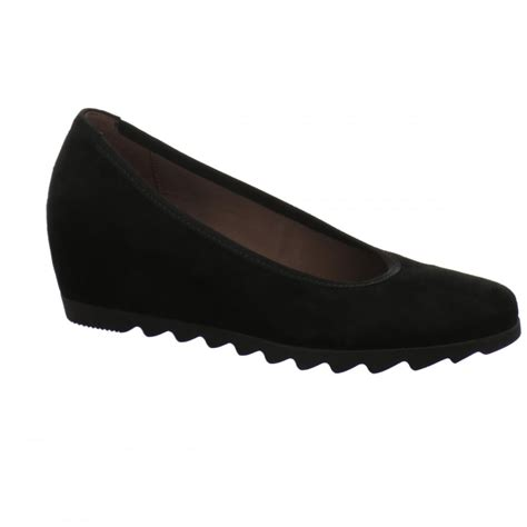 gabor gabor request black suede wedge with ribbed