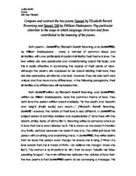 Compare Two Poems Essay by Compare And Contrast Essay Exles Point By Point Compare Contrast Explanation And Exles
