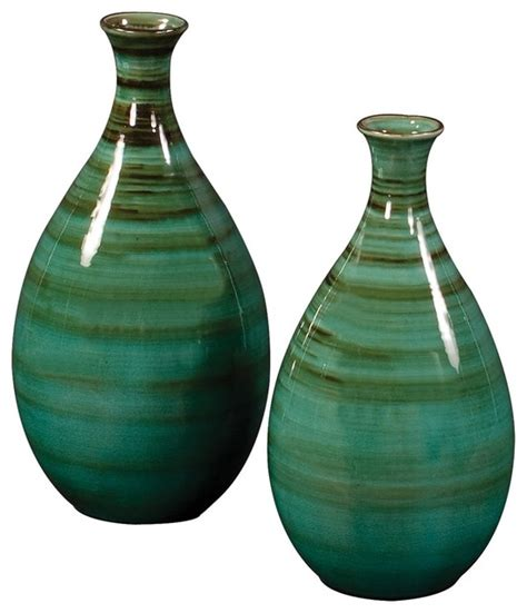 Glazed Ceramic Vases by Teal With Green And Black Striped Glazed Ceramic Vases