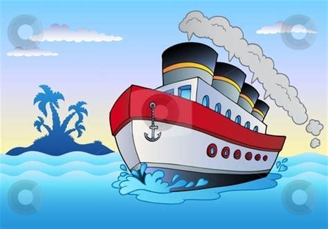 boat browser cookies steamship sailing in sea stock vector