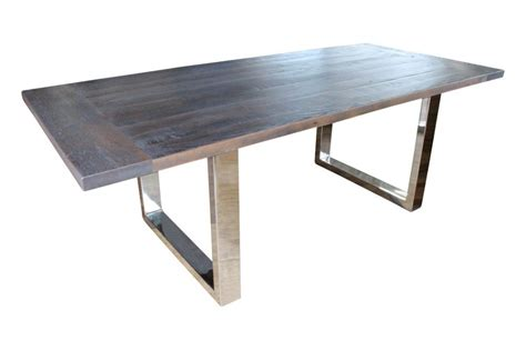 Dining Table With Stainless Steel Legs 2 2m Grey Brown Recycled Timber Dining Table With Stainless Steel Legs On Sales 2250 Wildwood